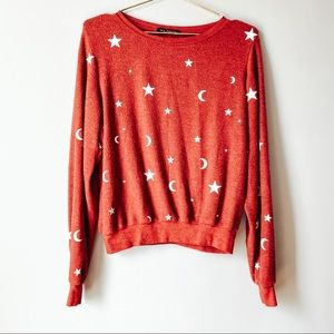 Wildfox Red Essential Moon & Stars Pullover